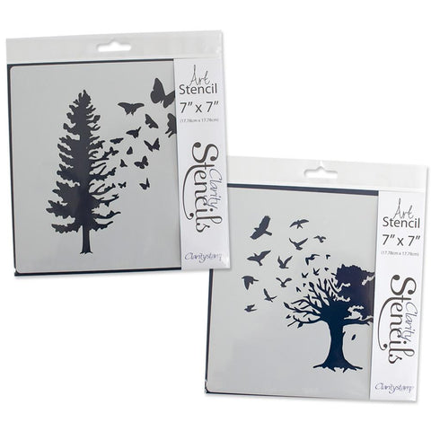 "Birds & Butterfly Trees Stencils 7"" x 7"" (Set of 2)"