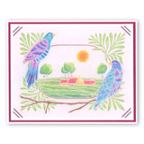 Birds & Flourish Frame <br/>A5 Square Groovi Plate Set