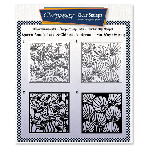 Botanical Queen Anne's Lace & Chinese Lanterns Two-Way Overlay Stamp Set