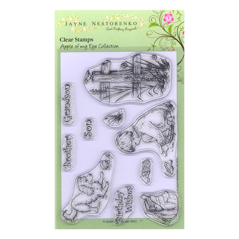Boy & Frog <br/>Unmounted Clear Stamp Set