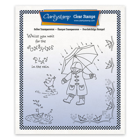 Linda's Children - Spring - Boy in the Rain - A5 Square Stamp & Mask Set