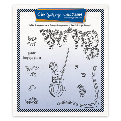 Linda's Children - Summer - Boy on a Tyre - A5 Square Stamp & Mask Set