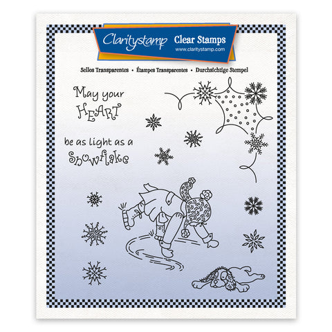 Linda's Children - Winter - Boy Ice Skating - A5 Square Stamp & Mask Set