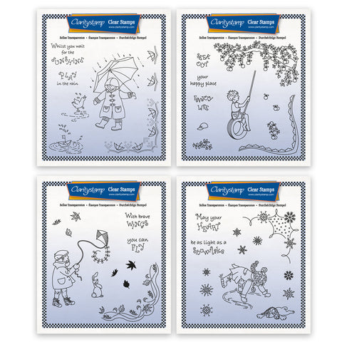 Linda's Children Through the Seasons Quartet - Boys A5 Square Stamps & Masks