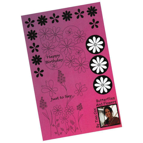 Tina's Flowers & Butterflies Unmounted Clear Stamp Set