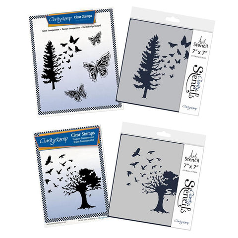 Butterfly Tree & Bird Tree Stamp & Stencil Set