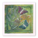 Leafy Butterflies & Bird Round <br/>A5 Square Groovi Plate <br/>(Set GRO-AN-40834-03)