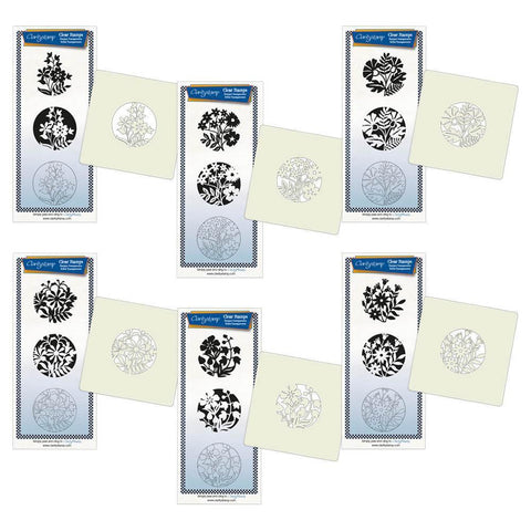 Floral Friends + Stencils & MASKS <br/>Unmounted Clear Stamp Sets Bundle