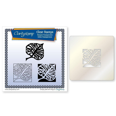 Skeleton Leaf Three Way Overlay + STENCIL Unmounted Clear Stamp Set