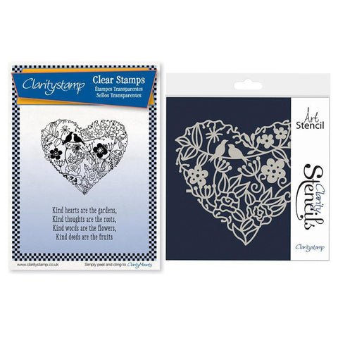 Garden Heart Unmounted Clear Stamp Set + Frameless Stencil