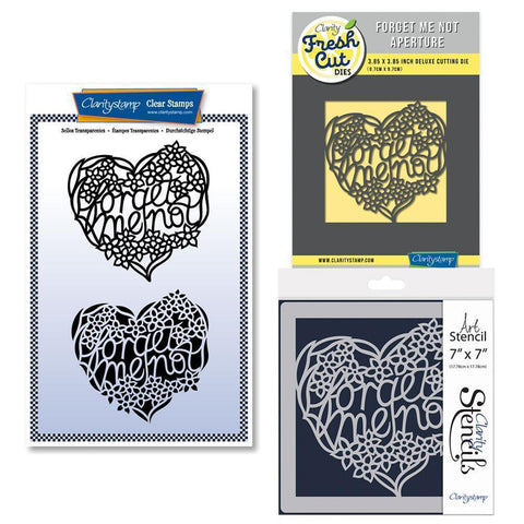Forget Me Not Heart Collection Stamp, Die & Stencil Bundle