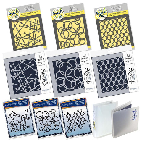 Particle, Rings & Chain Link Collection <br/>Stamps, Stencils, Dies & Folders Bundle