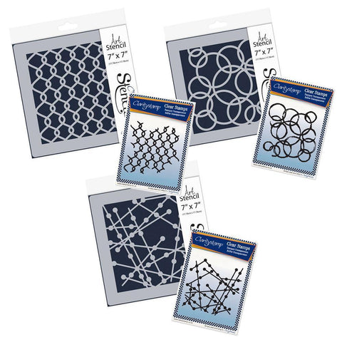 Particle, Rings & Chain Link Stamp & Stencil Collection