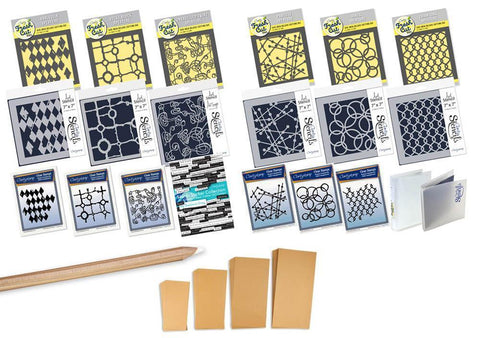 Particle & Harlequin Collection <br/>Stamps, Stencils, Dies, Stickers & Folders Mega Bundle <br/>+ FREE Kraft Card Blanks Bundle!
