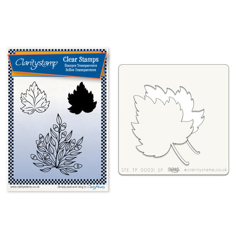 Sycamore Leaves 1 + Stencil <br/>Unmounted Clear Stamp Set