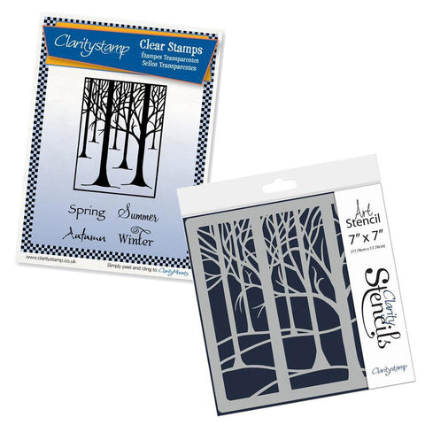 "Treescape & Seasons <br/>Unmounted Clear Stamp Set <br/>+ Treescape Stencil 7"" x 7"""