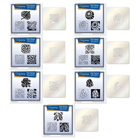 Autumn Collection Three Way Overlay + STENCILS Unmounted Clear Stamp Sets Bundle