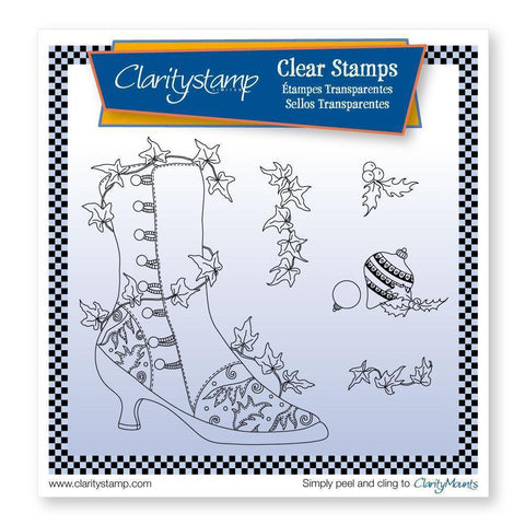 Cherry's Ivy Boot & Baubles + MASK Unmounted Clear Stamp Set