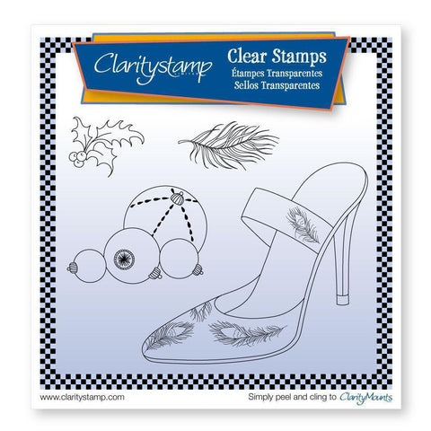 Cherry's Stiletto Shoe & Baubles + MASK <br/>Unmounted Clear Stamp Set