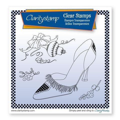 Cherry's Stiletto Shoe & Bow + MASK <br/>Unmounted Clear Stamp Set