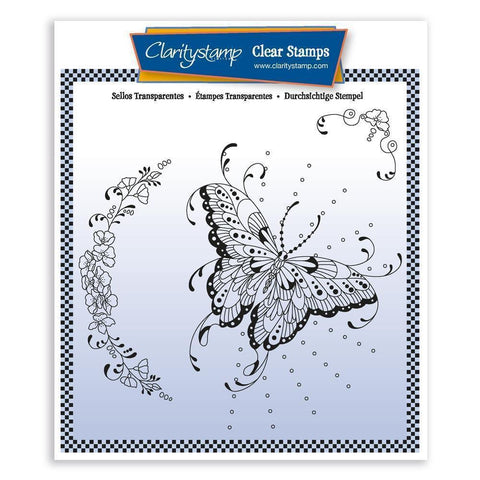 Cherry's Butterfly & Floral Flourish Unmounted Clear Stamp Set
