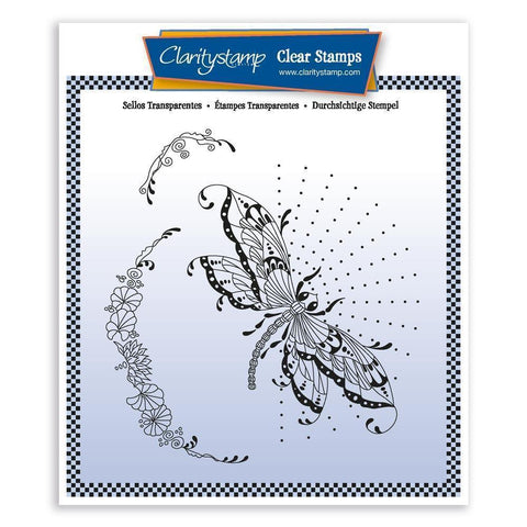 Cherry's Dragonfly & Pretty Flourish <br/>Unmounted Clear Stamp Set