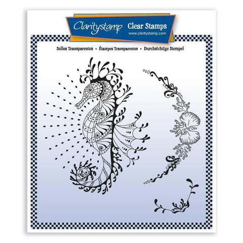 Cherry's Seahorse & Coral Flourish <br/>Unmounted Clear Stamp Set