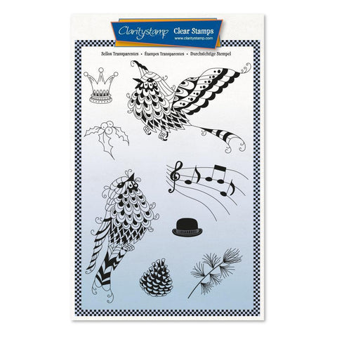 Cherry's Mythical Songbirds + MASK <br/>Unmounted Clear Stamp Set