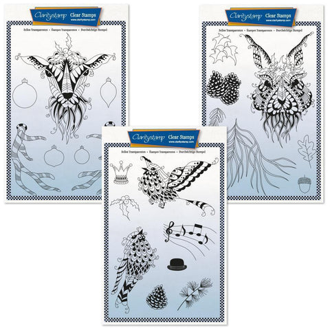 Cherry's Mythical Deer, Hare & Songbirds Collection + MASK Unmounted Clear Stamp Sets
