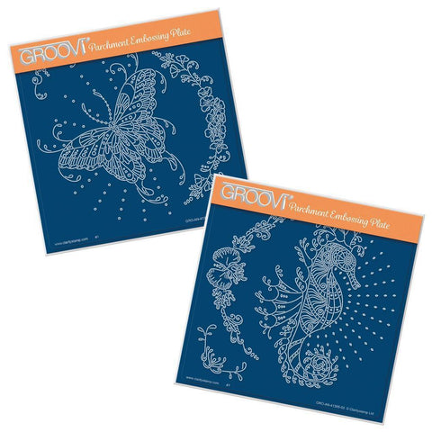 Cherry's Butterfly & Seahorse Duet <br/>A5 Square Groovi Plate Set