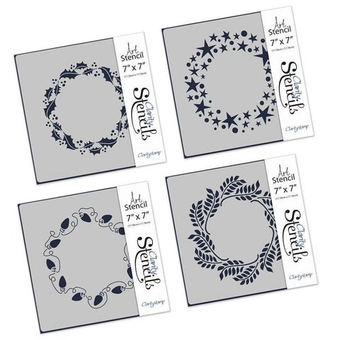 "Christmas Wreaths 7"" x 7""  Stencil Set"