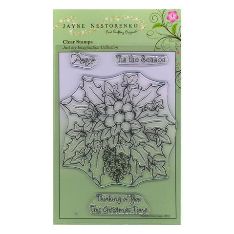 Christmas Holly & Berries Unmounted Clear Stamp Set