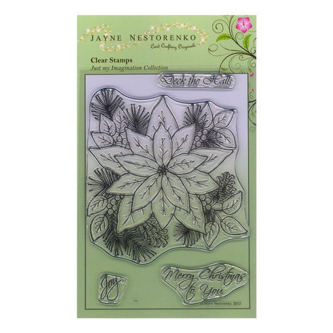 Christmas Poinsettia Spray Unmounted Clear Stamp Set
