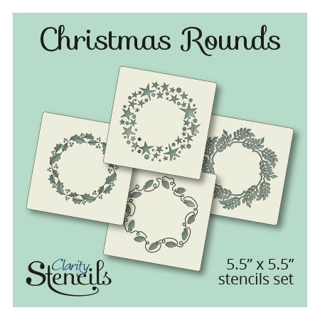 "Christmas Rounds 5"" x 5"" Stencil Set"