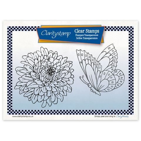 Chrysanthemum & Butterfly + MASK <br/>Unmounted Clear Stamp Set <br/>+ 2 FREE Mounts!