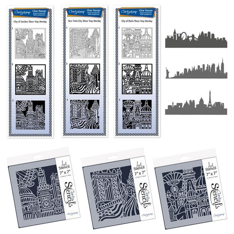 City Skylines <br/>Three Way Overlay Stamps, Stencils & Masks Collection