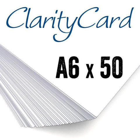 Clarity Card <br/> White Coated A6 Card x50 <br/> (UK & EU Only)
