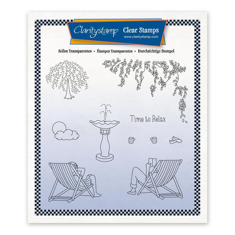 Linda's In the Garden - Deck Chairs + Mask Unmounted Stamp Set