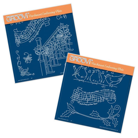 Deck the Halls & We Wish You a Merry Christmas<br/>A5 Square Groovi Plate Set