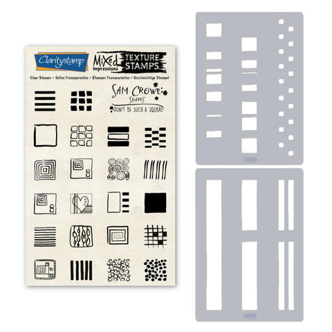 Sam's Shapes - Don't Be Such a Square - Squares Unmounted Clear Stamp & Stencil Set