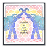 "Elephant & Trellis Pattern Stencil Set 7"" x 7"" (Set of 2)"