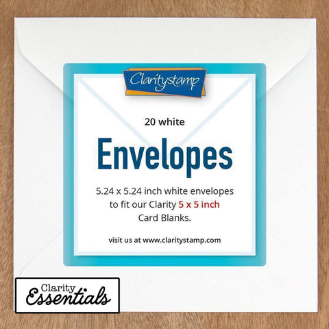 "White Envelopes for 5"" x 5"" Card Blanks x20"