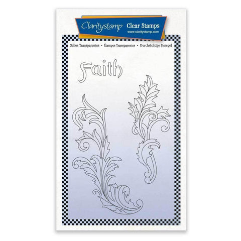 Faith Filigree Swirls + MASK <br/>Unmounted Clear Stamp Set