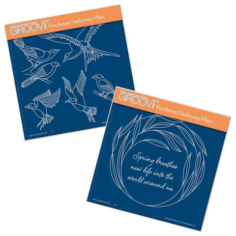 Feathered Friends & Willowy Wreath <br/>Groovi Plate Set