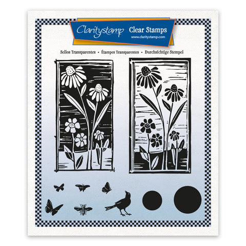 Barbara's Linocut - Daisy A5 Square Unmounted Stamp Set