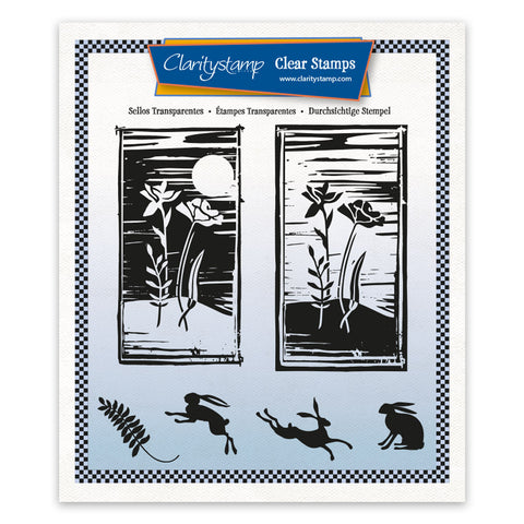 Barbara's Linocut - Midnight Rose A5 Square Unmounted Stamp Set
