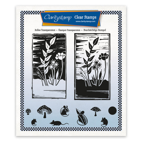 Barbara's Linocut - Wildflowers A5 Square Unmounted Stamp Set