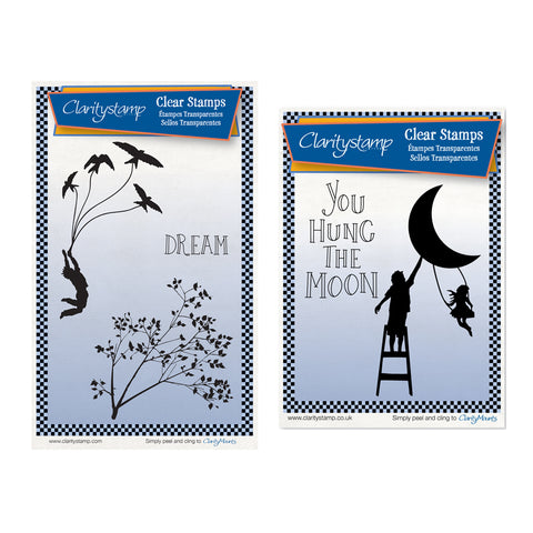 Fly Away & You Hung the Moon Unmounted Clear Stamp Sets