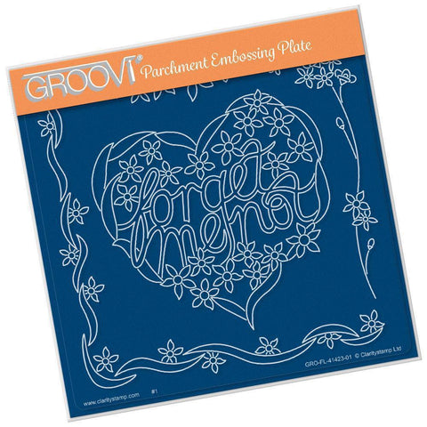 Forget Me Not Heart <br/>A5 Square Groovi Plate
