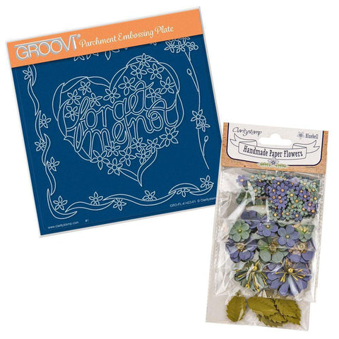 Forget Me Not Heart A5 Square Groovi Plate & Bluebell Paper Flowers
